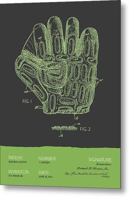Baseball Glove Patent From 1924 - Gray Green Metal Print