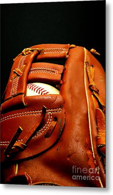 Baseball Glove With Ball Metal Print by Danny Hooks