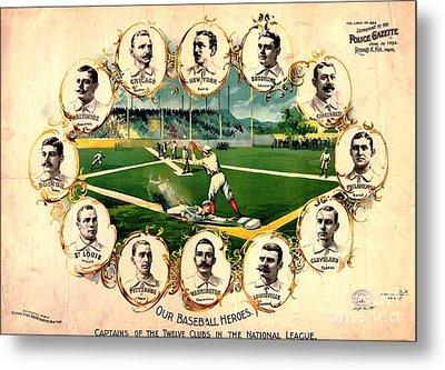 Baseball Heroes - 1895 Metal Print by Pg Reproductions
