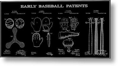 Baseball History 2 Patent Art Metal Print