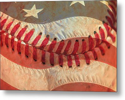 Baseball Is Sewn Into The Fabric Metal Print