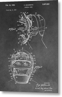 Baseball Mask Patent Black And White Metal Print by Dan Sproul