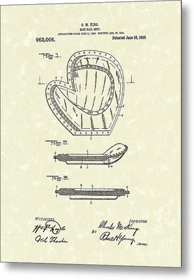 Baseball Mitt 1910 Patent Art Metal Print by Prior Art Design