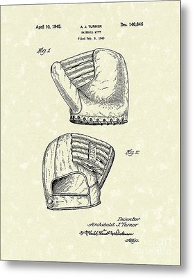 Baseball Mitt 1945 Patent Art Metal Print by Prior Art Design