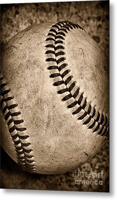 Baseball Old And Worn Metal Print by Paul Ward