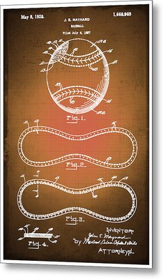 Baseball Patent Blueprint Drawing Sepia Metal Print
