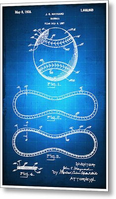 Baseball Patent Blueprint Drawing Metal Print