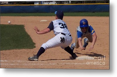 Baseball Pick Off Attempt Metal Print by Thomas Woolworth