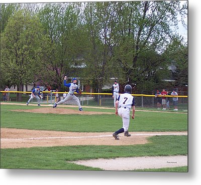 Baseball Pitcher The Delivery Metal Print by Thomas Woolworth