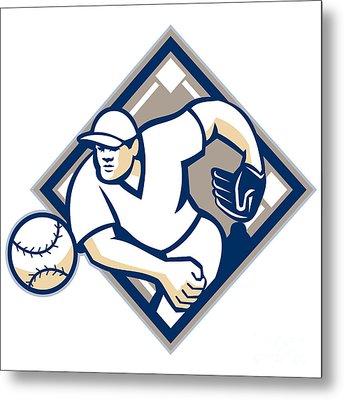 Baseball Pitcher Throwing Ball Diamond Metal Print by Aloysius Patrimonio