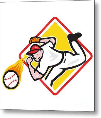 Baseball Pitcher Throwing Fire Ball Diamond Metal Print by Aloysius Patrimonio
