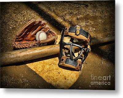 Baseball Play Ball Metal Print