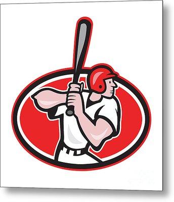 Baseball Player Batting Cartoon Oval Metal Print by Aloysius Patrimonio