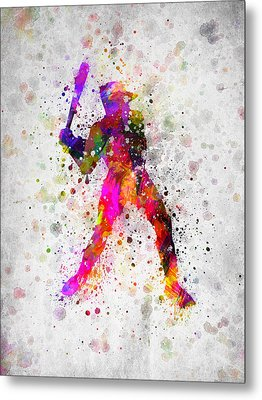 Baseball Player - Holding Baseball Bat Metal Print by Aged Pixel
