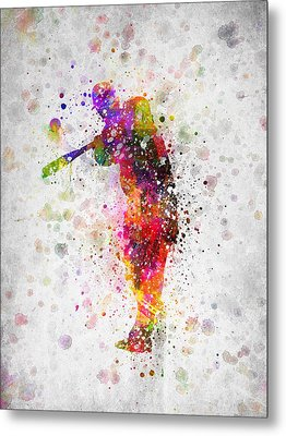 Baseball Player - Taking A Swing Metal Print by Aged Pixel