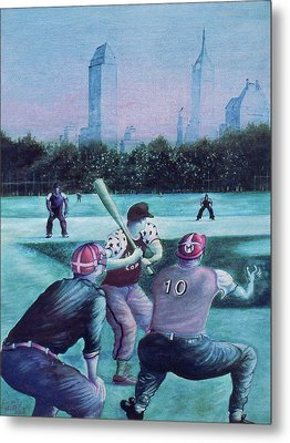 New York Central Park Baseball - Watercolor Art Metal Print by Art America Gallery Peter Potter