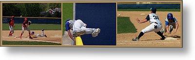 Baseball Playing Hard 3 Panel Composite 02 Metal Print by Thomas Woolworth