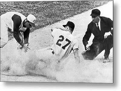 Baseball Runner Out At Third Metal Print by Underwood Archives