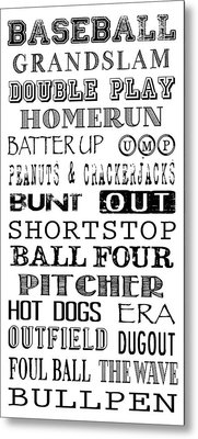 Baseball Subway Art Metal Print by Jaime Friedman