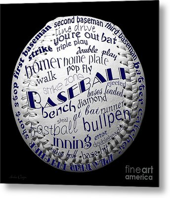 Baseball Terms Typography 2 Metal Print by Andee Design