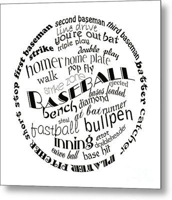 Baseball Terms Typography Black And White Metal Print by Andee Design