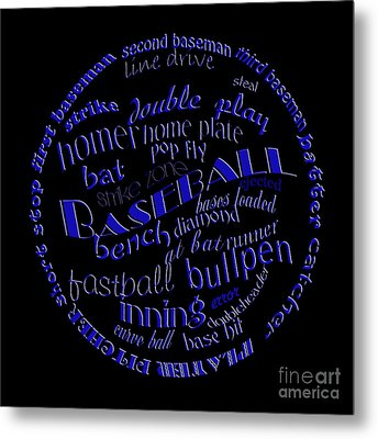 Baseball Terms Typography Blue On Black Metal Print by Andee Design