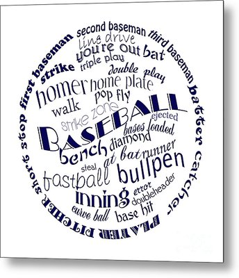 Baseball Terms Typography Blue On White Metal Print by Andee Design