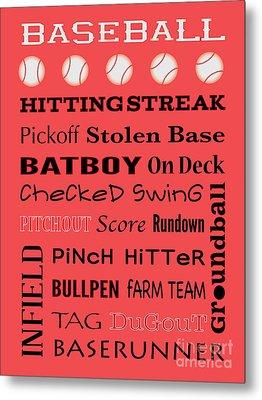 Baseball Typography Metal Print