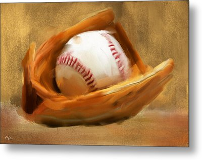 Baseball V Metal Print by Lourry Legarde