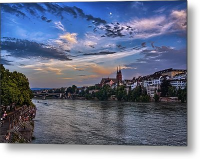Basel Bathed In Moonlight Metal Print
