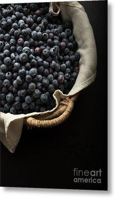 Basket Full Fresh Picked Blueberries Metal Print