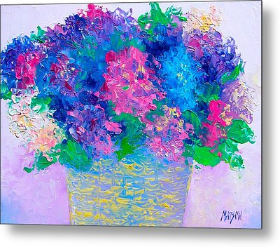 Basket Of Hydrangeas Metal Print