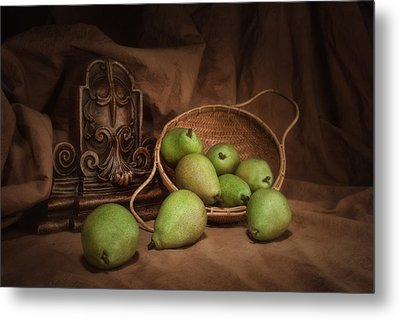 Basket Of Pears Still Life Metal Print