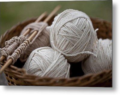Basket Of Yarn Metal Print