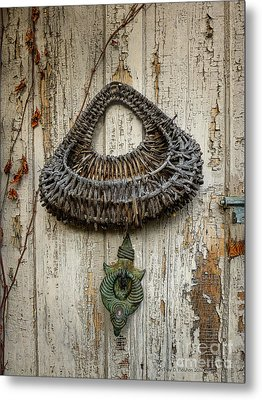 Basket On Weathered Door Metal Print