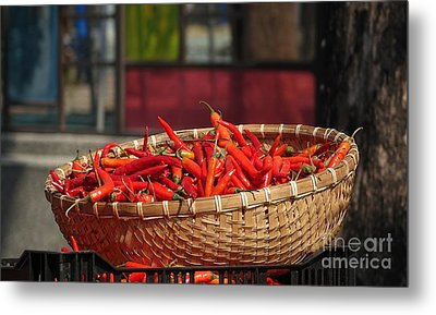Basket With Red Chili Peppers Metal Print by Yali Shi