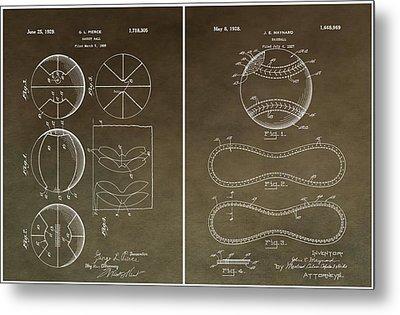 Basketball Baseball Patent 2 Metal Print by Dan Sproul
