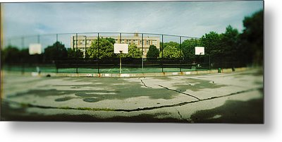 Basketball Court In A Public Park Metal Print