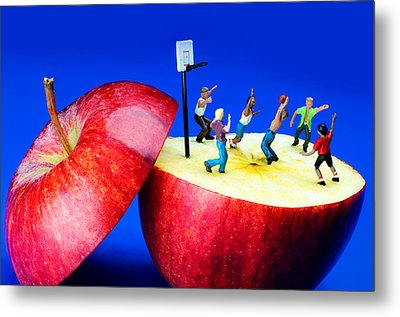 Basketball Games On The Apple Little People On Food Metal Print by Paul Ge
