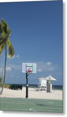 Basketball Goal On The Beach Metal Print by Bob Pardue