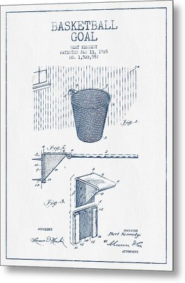 Basketball Goal Patent From 1925 - Blue Ink Metal Print by Aged Pixel