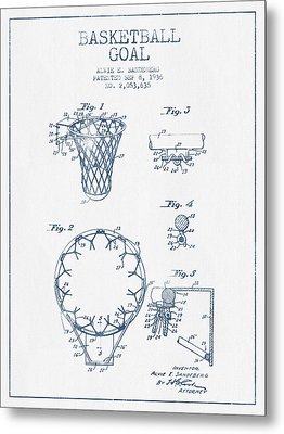 Basketball Goal Patent From 1936 - Blue Ink Metal Print by Aged Pixel