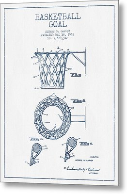 Basketball Goal Patent From 1951 - Blue Ink Metal Print by Aged Pixel