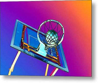 Basketball Hoop And Basketball Ball Metal Print by Lanjee Chee
