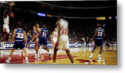 Basketball Match In Progress, Chicago Metal Print