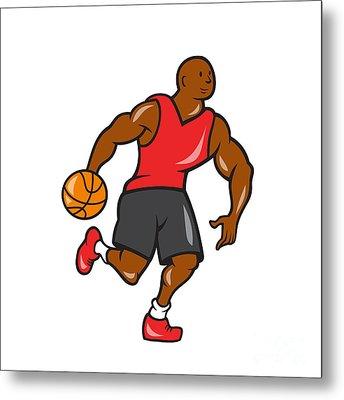 Basketball Player Dribbling Ball Cartoon Metal Print