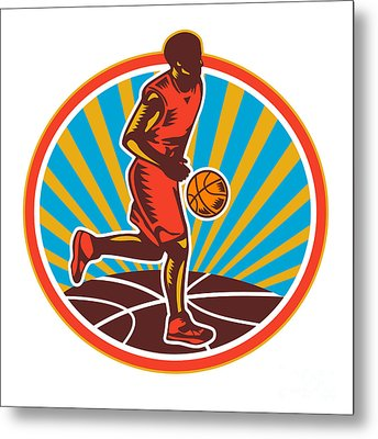 Basketball Player Dribbling Ball Woodcut Retro Metal Print by Aloysius Patrimonio