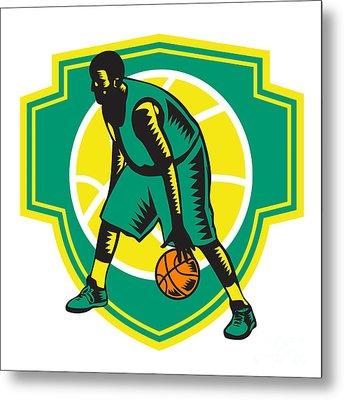 Basketball Player Dribbling Ball Woodcut Shield Retro Metal Print