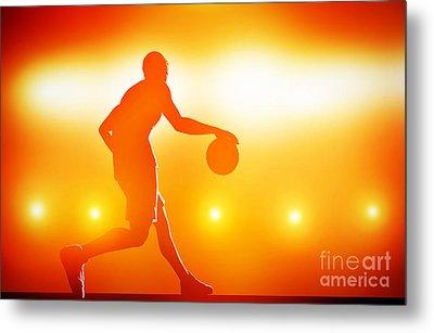 Basketball Player Dribbling With Ball Metal Print by Michal Bednarek