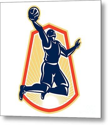 Basketball Player Dunk Rebound Ball Retro Metal Print by Aloysius Patrimonio
